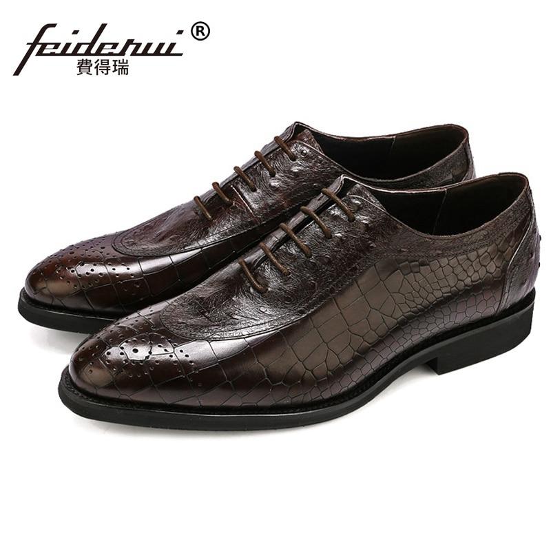 Hombres Partido Pie Dedo Medallón Formal De Oxfords Cuero Boda Vestido Hombre Zapatos Brogue Del Lujo Ss317 marrón Redonda Genuino Negro Cocodrilo Calzado aTOBqxpZnw