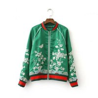 Flower Embroidery Stand Collar Brand Coat Female Baseball Uniform Women S Jacket Cardigan Bomber Jacket For