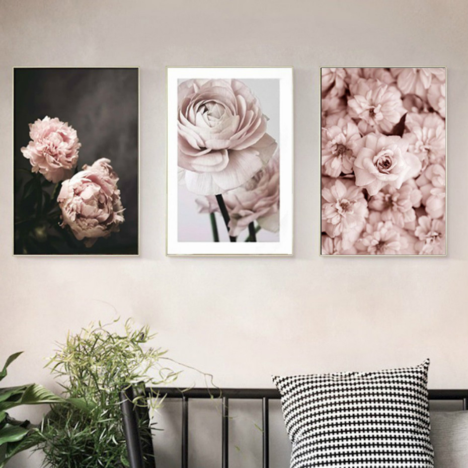 HTB1UCsEeRWD3KVjSZKPq6yp7FXaS Modern Romantic Light Pink Peonies Flowers Canvas Paintings Gallery Posters Prints Wall Art Pictures Bedroom Interior Home Decor