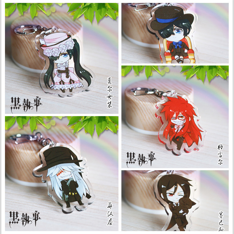 Anime Keychain Kuroshitsuji Black Butler Sebastian Ciel Undertaker Grell Pendant Keychain Keyrings kulcstarto Charms Key Holder roman numerals dial artificial leather watch
