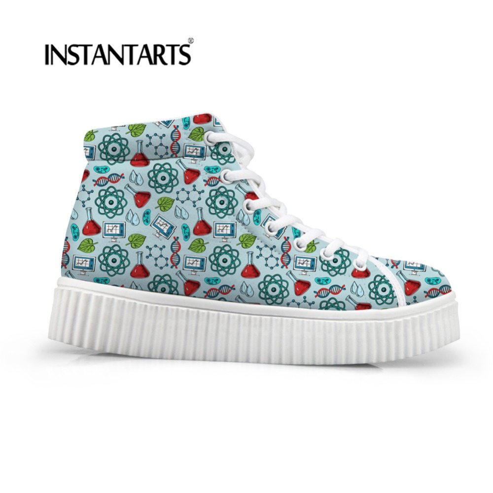 INSTANTARTS Women Shoes Flats Platform Shoes Fashion Science Pattern Women Casual Shoes Lace Up Round Toe Creepers Female Shoes
