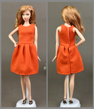 2017 Simple Design Orange Princess Party Gown Dress Handmade Clothes Skirt For Baby Toy Barbie Xinyi FR Doll toys for Girls(China)