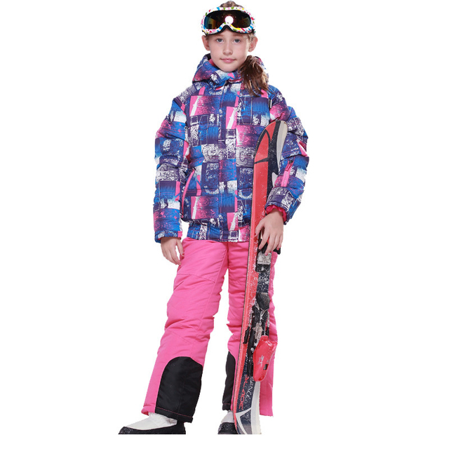 Children Winter Clothing Sets Girls Windproof Waterproof Outdoor Hooded Sports Jacket+Bib Pants 2pcs Girls Ski Suit