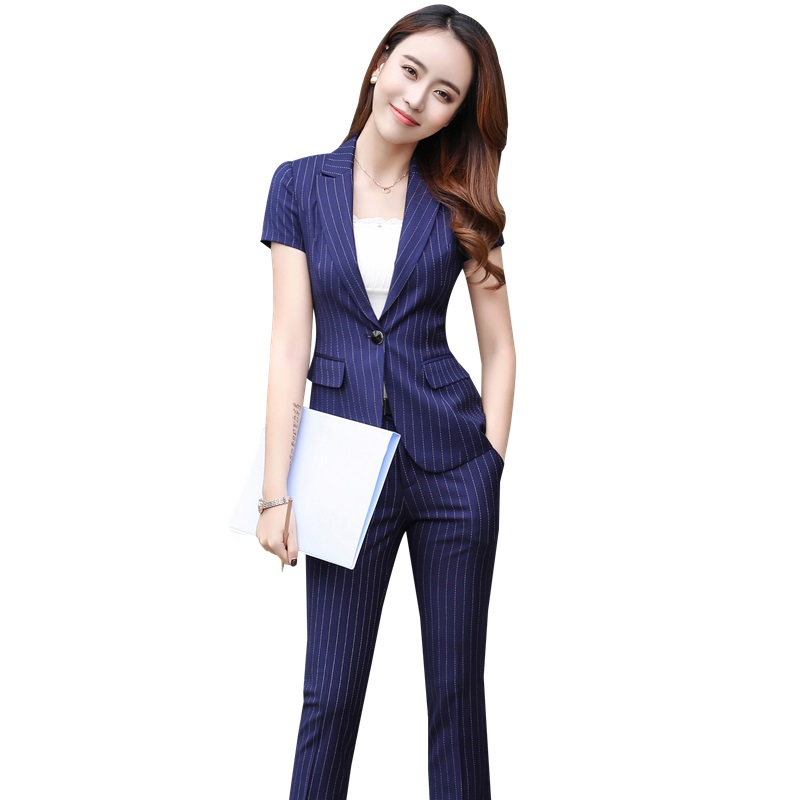 Summer Short Sleeve Fashion Striped Business Suits With Jackets And Pants Women Formal Pantsuits Office Ladies Trousers Sets