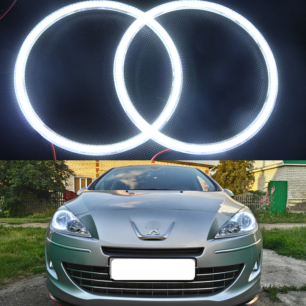 все цены на  Excellent Ultra bright illumination 3014SMD Led Angel Eyes Halo Ring kit For Peugeot 408 2010 2011 2012 2013 Led headlight  онлайн