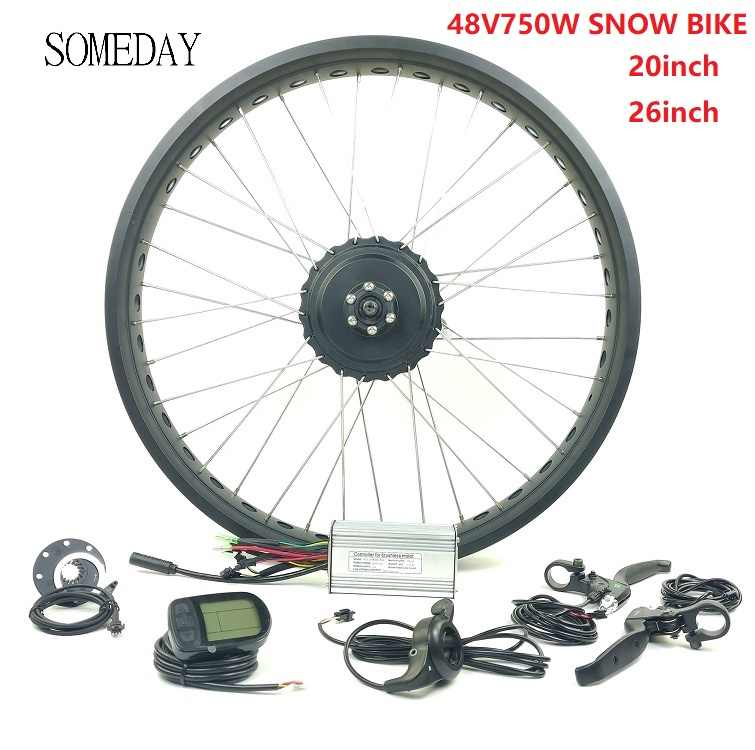 SOMEDAY EBIKE fat tire front 20 26 inch gear hub motor 48V 750W electric bicycle snow bike with LCD5 display