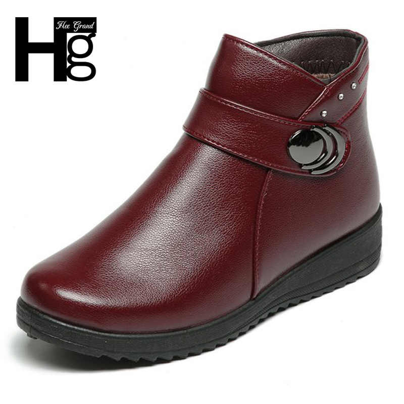 HEE GRAND New Women Quality Leather Ankle Boots Winter Shoes Lady Autumn Brand Platform Wedges Boots Size 36-41 XWX6851