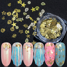1 box Gold Metallic Nail Paillette Sequins 3D Shells Flamingos Flakes Summer Flowers Art Slice Tips Decorations BE970