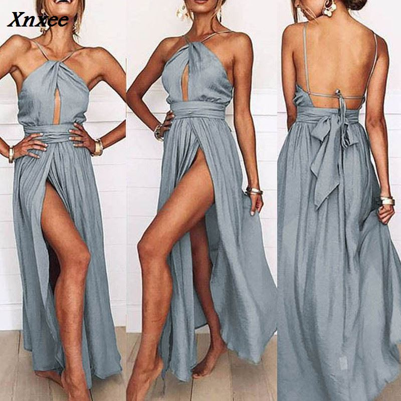 Women Halter Dress Sexy Backless Split Hanging Neck Sleeveless Summer Long Dresses Female Clothing S M L XL Xnxee