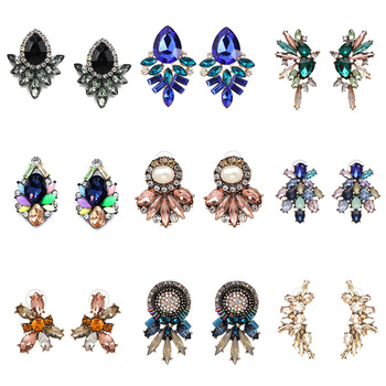 JUJIA Vintage Simple Design Cheap Earring For Women Fashion Jewelry Bohemian Statement Crystal Stud Earrings Brincos