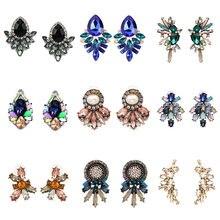 Atacado jujia vintage design simples brinco barato para as mulheres moda jóias boêmio declaração brincos de cristal do parafuso prisioneiro brincos