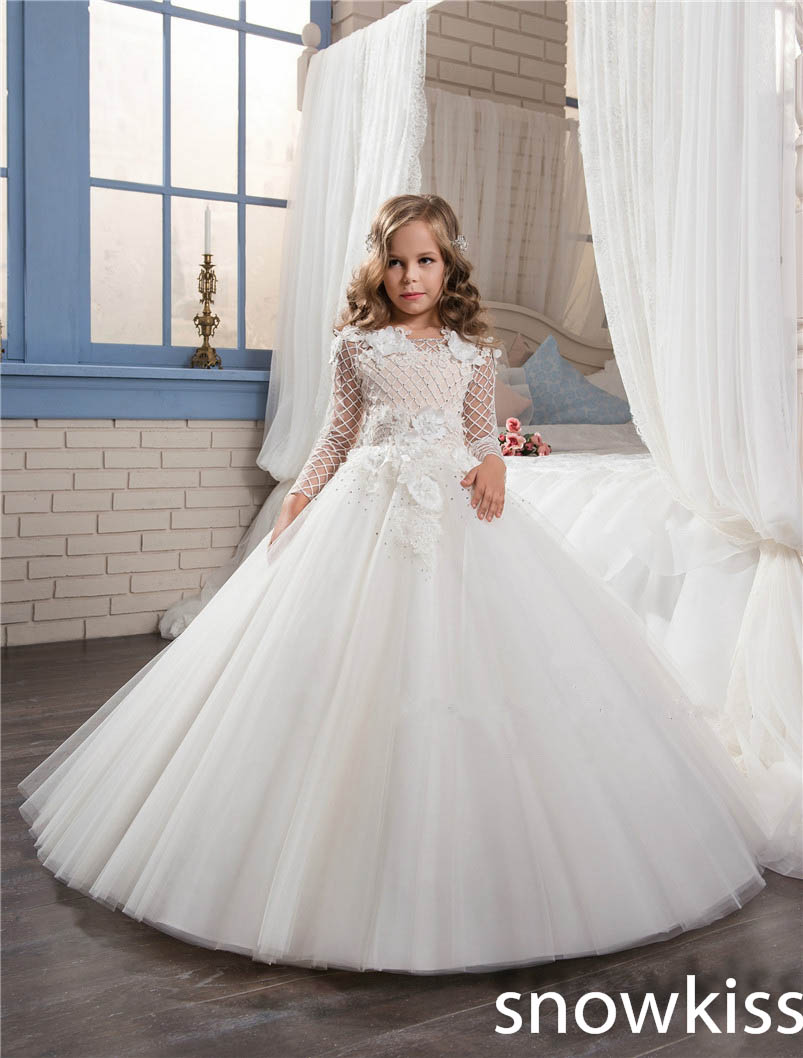 2017 white/ivory long sleeve first communion dress with lace appliques tulle ball gown mother daughter wedding dresses new original dvp40es200t delta plc es2 series 100 240vac 24di 16do transistor output