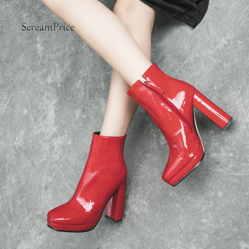 Women New Spring Autumn Fashion Patent Leather Ankle Boots Ladies Square Toe With Zipper Thick High Heel Boots Black Red basic 2018 women thick heel ankle boots black pu fleeces round toe work shoe red heel winter spring lady super high heel boots