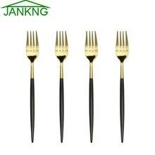 JANKNG 4 Pcs/Lot 18 10 Stainless Steel Dinner Fork Flatware Set Black Gold Fork for Dinner Salad Dessert  Fruit Fork Cutlery Set