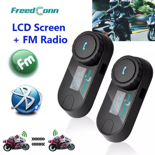 Updated Version! 2pcs FreedConn T-COM-SC W/Screen BT Bluetooth Motorcycle Helmet Intercom Headset With FM Radio