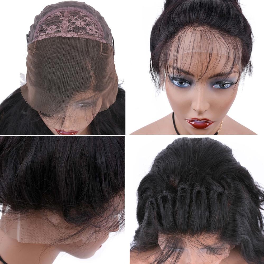 Allrun Μηχάνημα Made Front Μαλλιά Περούκες - Ανθρώπινα μαλλιά (για μαύρο) - Φωτογραφία 4