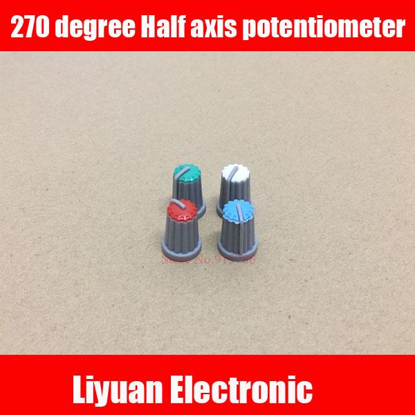 US $6 8 |20pcs 270 degree mixer plastic knob cap Half axis potentiometer  amplifier adjustment audio volume knob Blue green red white-in  Potentiometers