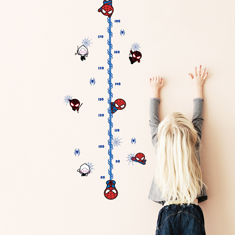 Cartoon spiderman height measure wall sticker for kids rooms childrens Growth Chart wall decals boys gift Home decor mural