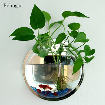 Behogar Dia 23cm/29.5cm Acrylic Fish Bowl Wall Mount Hanging Aquarium Aquatic Pet Supplies Products Fish Tank Flower Plant Vase