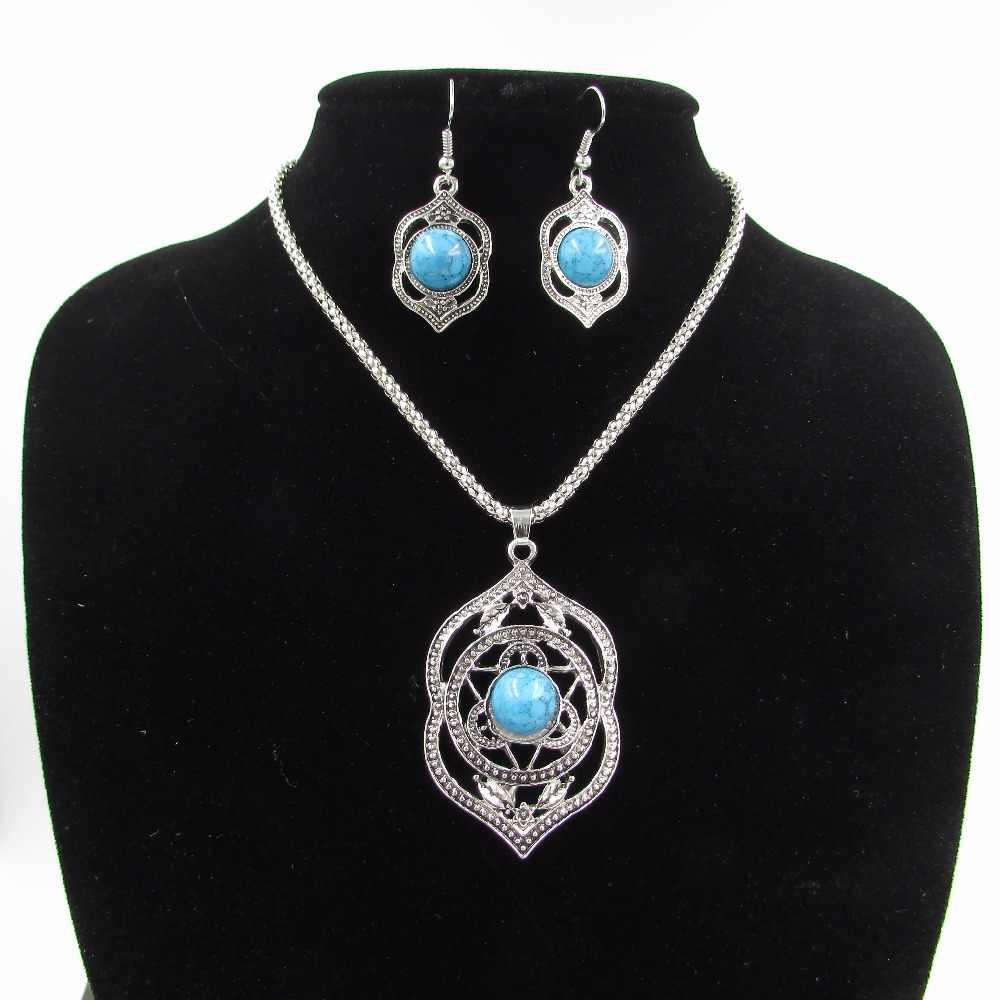 Heißer Verkauf Kupfer Antikes Silber Überzogene Halskette Und Ohrring und Armband Set für Frauen Extravagant Schmuck-Set für Mädchen