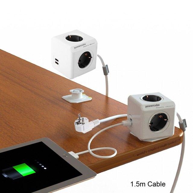 Aadaptador Ligue Smart Home 1 Peça Allocacoc PowerCube Soquete de Energia Prolongada DE Plug 4 Outlets 2 Portas USB Adapter com 1.5 m Cabo