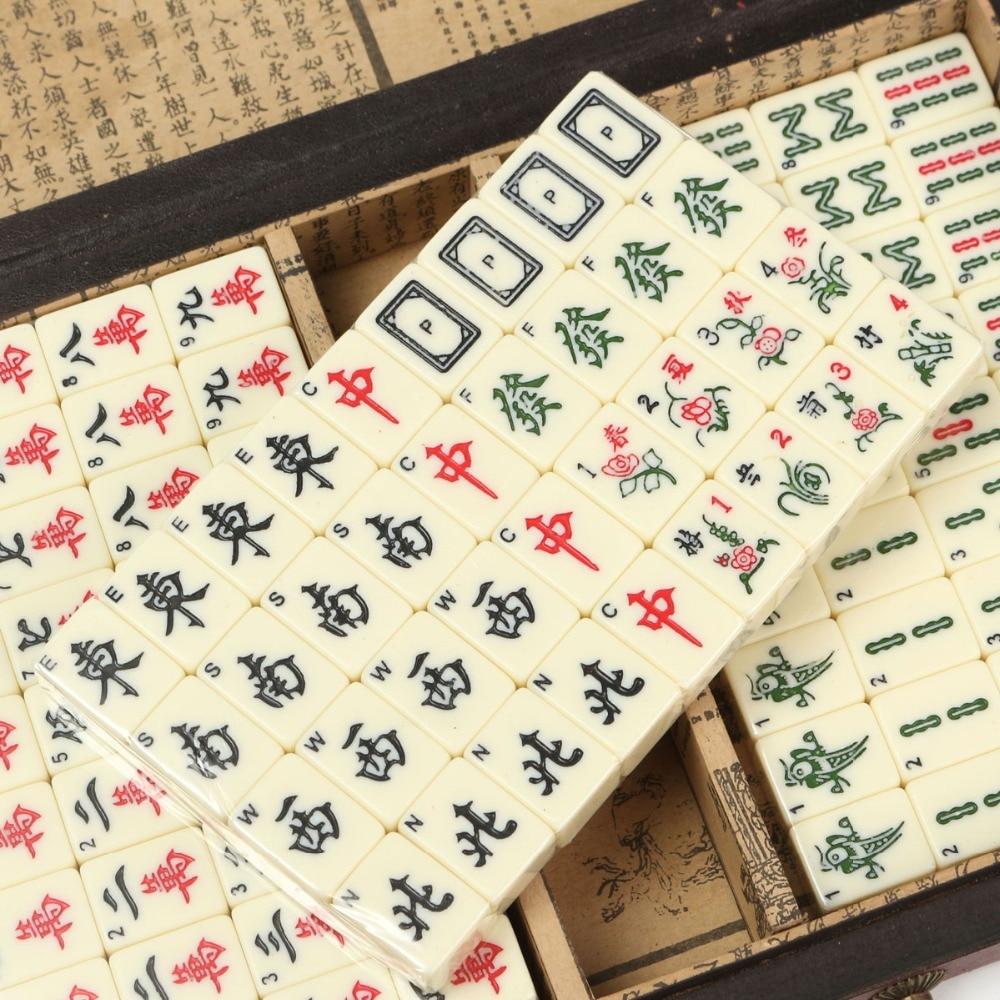 free shipping 144 mahjong set portable retro mahjong box rare chinese bamboo piece with box