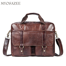 Genuine Leather Mens Bag Fashion Leisure Business Briefcase One-shoulder Inclined