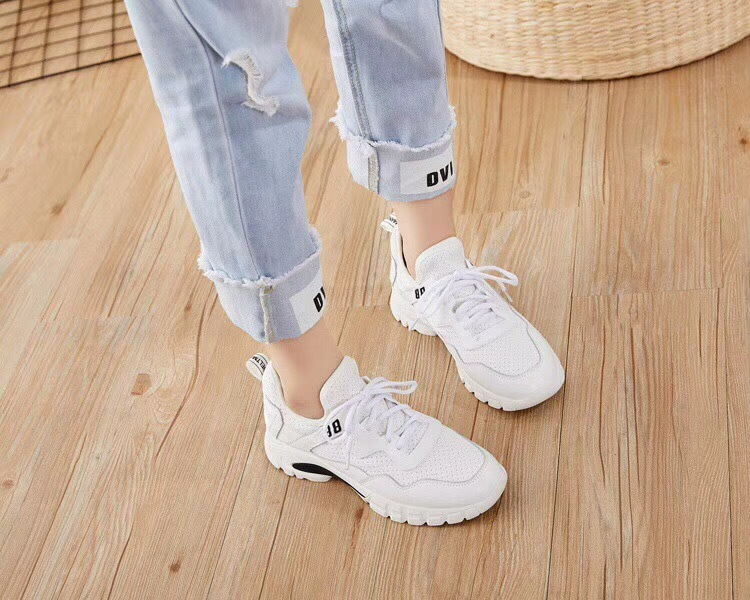 Spring And Autumn New White Shoes Women's Leather Fashion Casual Muffin Sports Trend Comfortable Breathable Flat Shoes 2018 spring summer autumn new mesh breathable leather kids shoes casual sports white flat boys girls board shoes