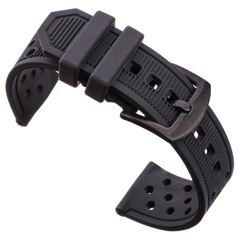 Silicone Watchbands Black Waterproof Soft Rubber 22mm Watch Band Strap Watch Accessories 316l Steel Buckle