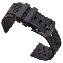 Silicone Watchbands Black Waterproof Soft Rubber 22mm Watch Band Strap Watch Accessories 316l Steel Buckle стоимость