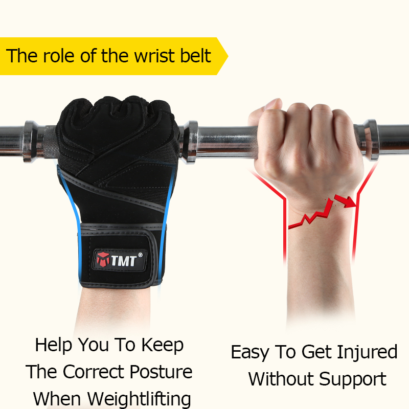 TMT Fitness Gloves Weight Lifting Gloves Men Women Half Finger Protect Wrist Gym Training Fingerless Weightlifting Sport Gloves in Fitness Gloves from Sports Entertainment