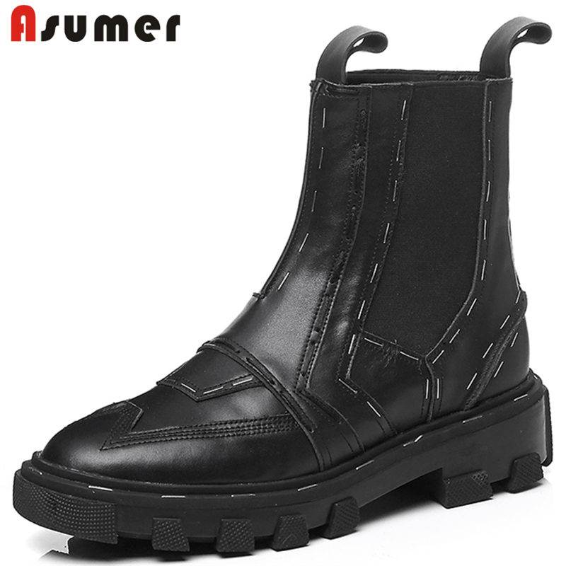 ASUMER 2018 NEW fashion sewing genuine leather boots slip on ankle boots for women flat with platform round toe female boots martine women ankle boots flat with chelsea boots for ladies spring and autumn female suede leather slip on fashion boots