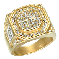 Top Quality Fashion Jewelry Square Ip Gold Plating Energy Rings Titanium Steel High Polished Balance Ring