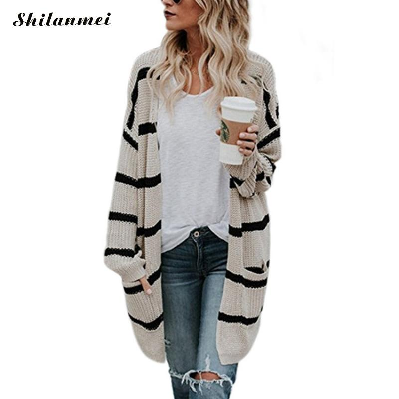 US $20.3 20% OFF Long Cardigan Sweater Women 2018 New Autumn Winter Long Sleeve Striped Knitted Cardigans Causal Loose Female Sweater Coat