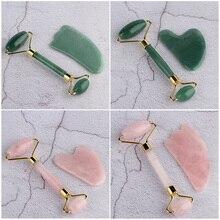 Natural Jade Facial Massage Roller Stone Rose Quartz Roller Slimming Face Massager Lifting Tool Skin