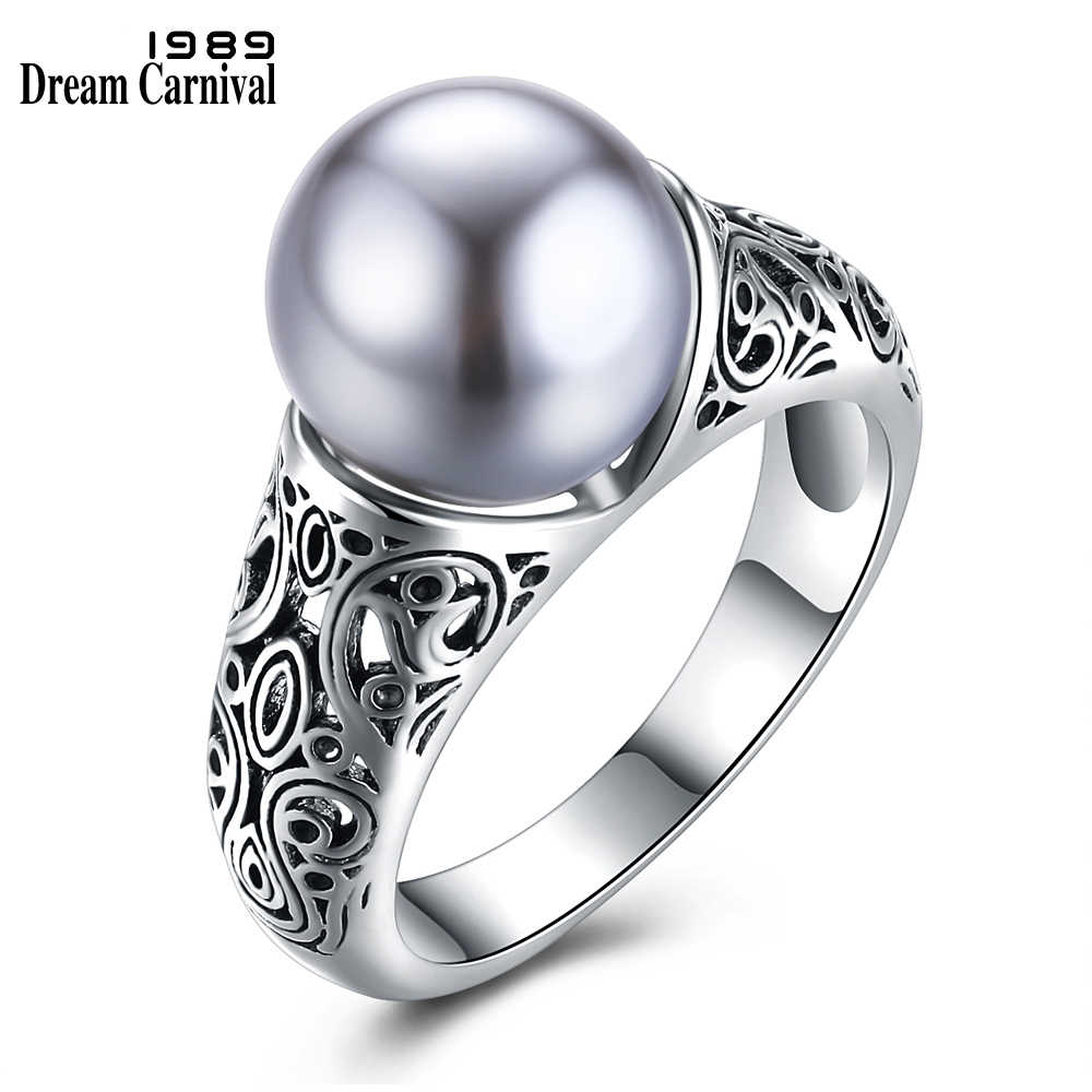 DreamCarnival 1989 Elegant Jewelry Women Grey Imitation Pearl anillos with Cubic Zirconia bague femme Luxury Party Rings WA11317