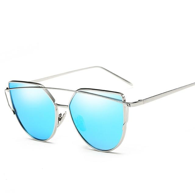 SIMPLESHOW Cat Eye Sunglasses Women Brand Fashion Rose Gold Mirror Sun Glasses Unique Flat Ladies Sunglasses oculos UV400 1