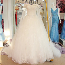 Robe De Mariee Princesse De Luxe Custom Made Full Beading Sequins Appliques White Ball Gown Wedding Dresses With Shawl