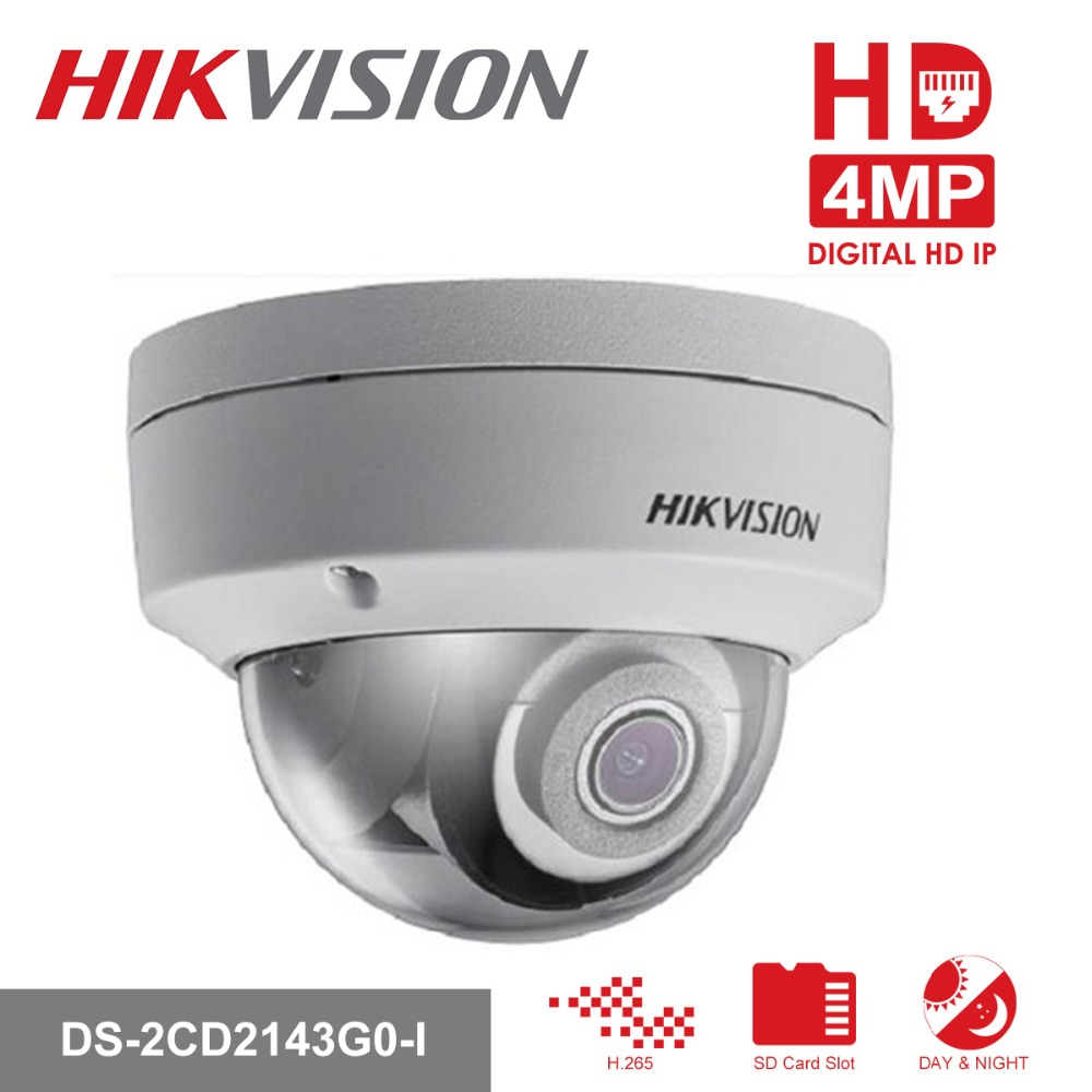 Hikvision Dome CCTV IP Camera POE DS-2CD2143G0-I 4MP CMOS IR Network Security Night Version Camera H.265 with SD Card Slot IP 67 dhl free shipping in stock new arrival english version ds 2cd2142fwd iws 4mp wdr fixed dome with wifi network camera