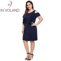 cc129b74be97 IN VOLAND Women Dress Plus Size O Neck Sleeveless Shoulder Ruffles Solid  Shift Tank Dresses Summer