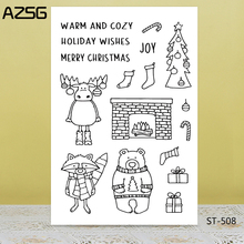 AZSG Christmas Deer Bear Tree Clear Stamps/Seals For DIY Scrapbooking/Card Making/Album Decorative Silicone Stamp Crafts
