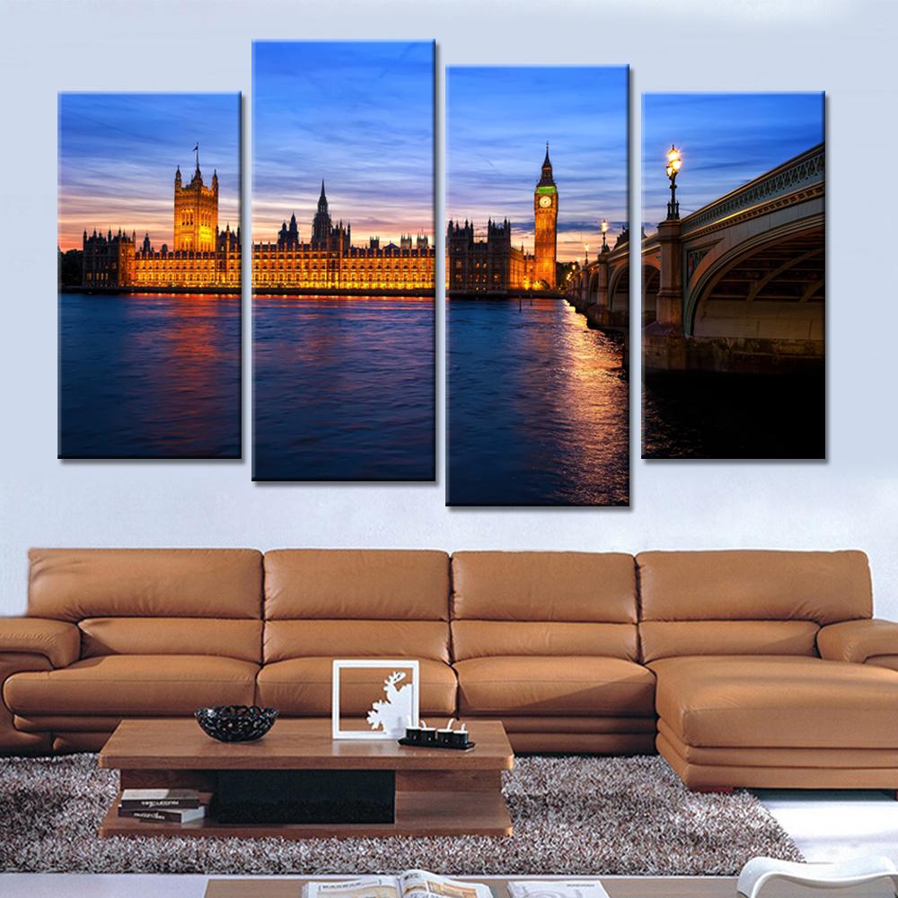 Kumsal duvar boyas rengi ile modern ve k ev dekorasyonu - 4 Paneller Bask L Boyama Londra Cityscape K Pr Modern Duvar Sanat Oturma Odas Ev Dekorasyonu I In Tuval