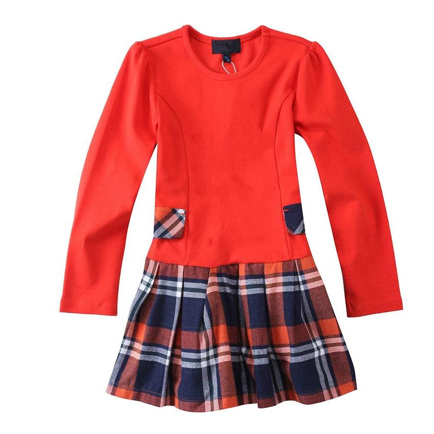 Hot selling Kids dresses for girls!2018 New Spring Children girl dress Long sleeved T-shirt British style dresses kids clothes