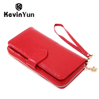 Kevin yun mode vintage sac à main en cuir femmes portefeuilles longue fermeture éclair femelle embrayage portefeuille huile en cuir dame sacs à long