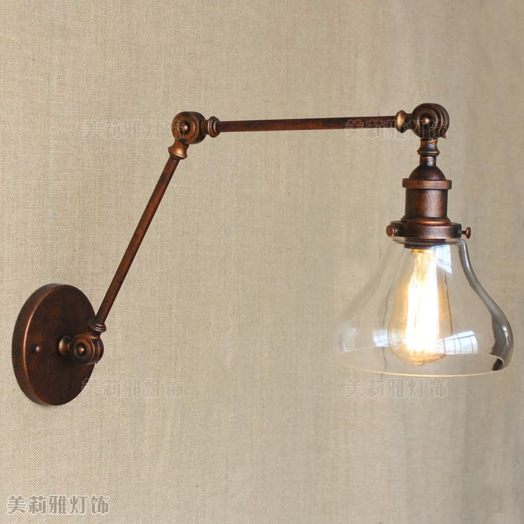 Long Swing Arm Retro Wall Light Fixtures Glass Edison Rustic Loft Style Industrial Wall Lamp Vintage Wandlampen Lampara Pared лампочка luck