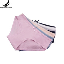 Prettywowgo 6 pcs/lot New Arrival 2019 Underwear 7 Solid Color Women Panties Cotton Briefs 802