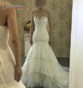Image 2 - 高品質新しいファッションレースマーメイドシャンパンとアイボリーウェディングドレスオフショルダー花嫁衣装カスタムサイズ