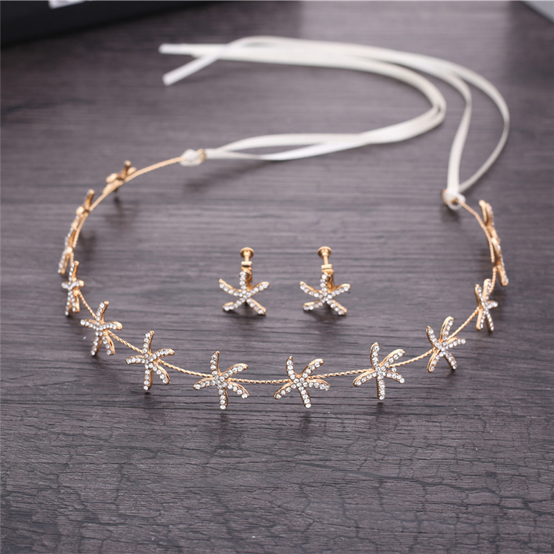 Korean Bride Headdress Starfish Crown & Earring Sets Girl Headbands Hair Ornament Marriage Jewelry Wedding Hair Accessories