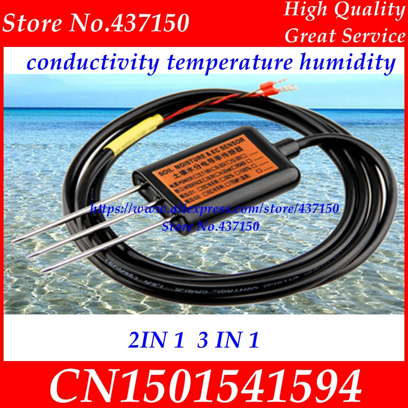 Soil Electric Conductivity Sensor 0-2V 4-20mA RS485  Soil Moisture Soil Temperature Humidity Soil EC Sensor Two Three In One