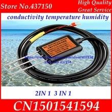 Sensor de conductividad eléctrica del suelo 0 2V 4 20mA RS485, sensor EC de temperatura del suelo de humedad del suelo, dos tres en uno